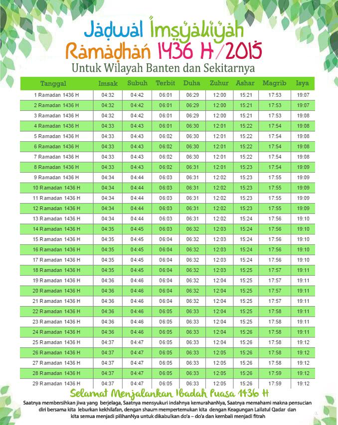 Jadwal Imsakiyah Wilayah Banten 1436 H | Gambar Aneh Unik Lucu