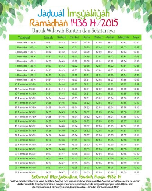 Jadwal Puasa 2015 Banten